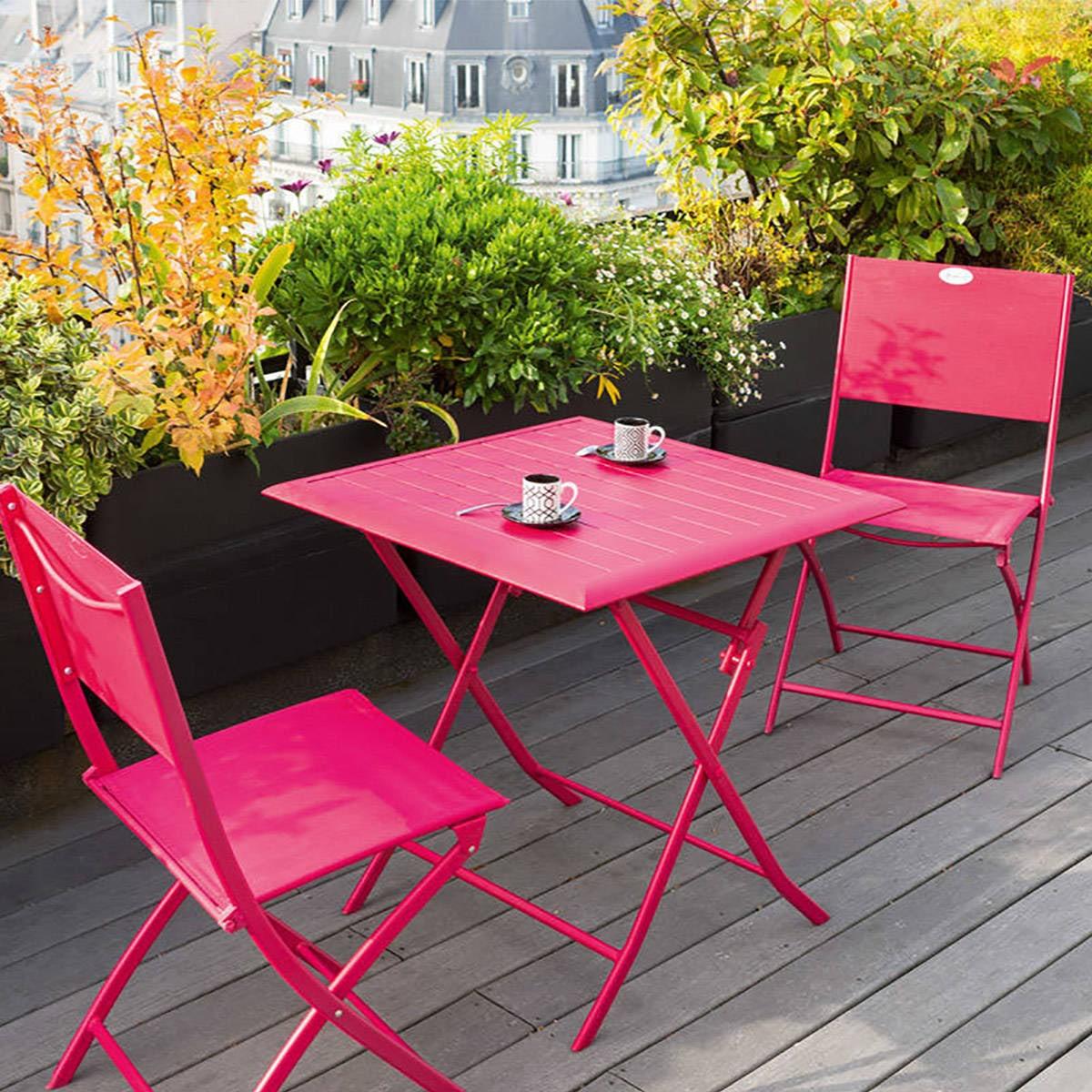 Table de jardin pliante carrée Azua Ardoise, Hesperide.com