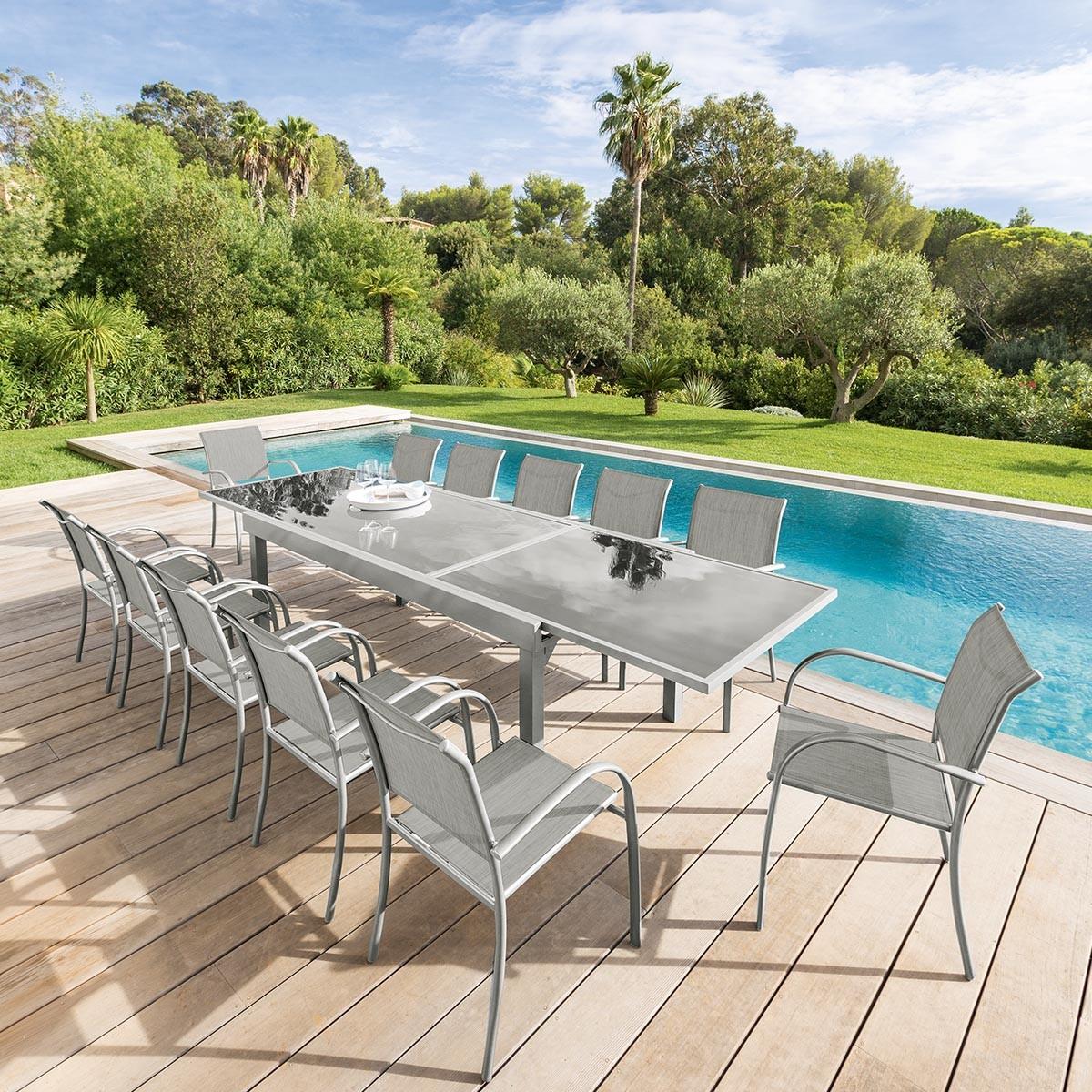Table de jardin extensible Piazza Gris & Silver mat, Hesperide.com