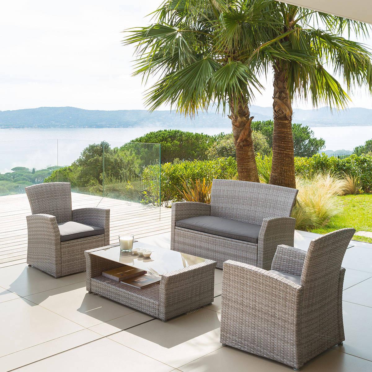 Salon de jardin Bora Bora Grège 4 places - Acier traité époxy, Résine tressée, Polyester - Hespéride grège