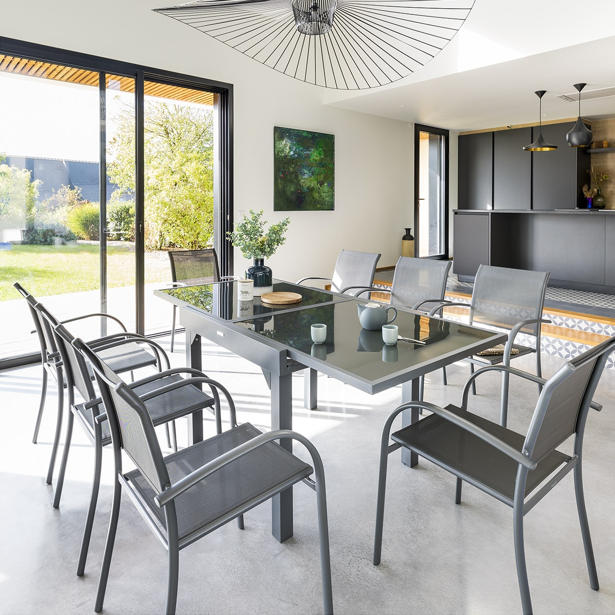 Table de jardin extensible Piazza Anthracite & Graphite Hespéride 8 ...