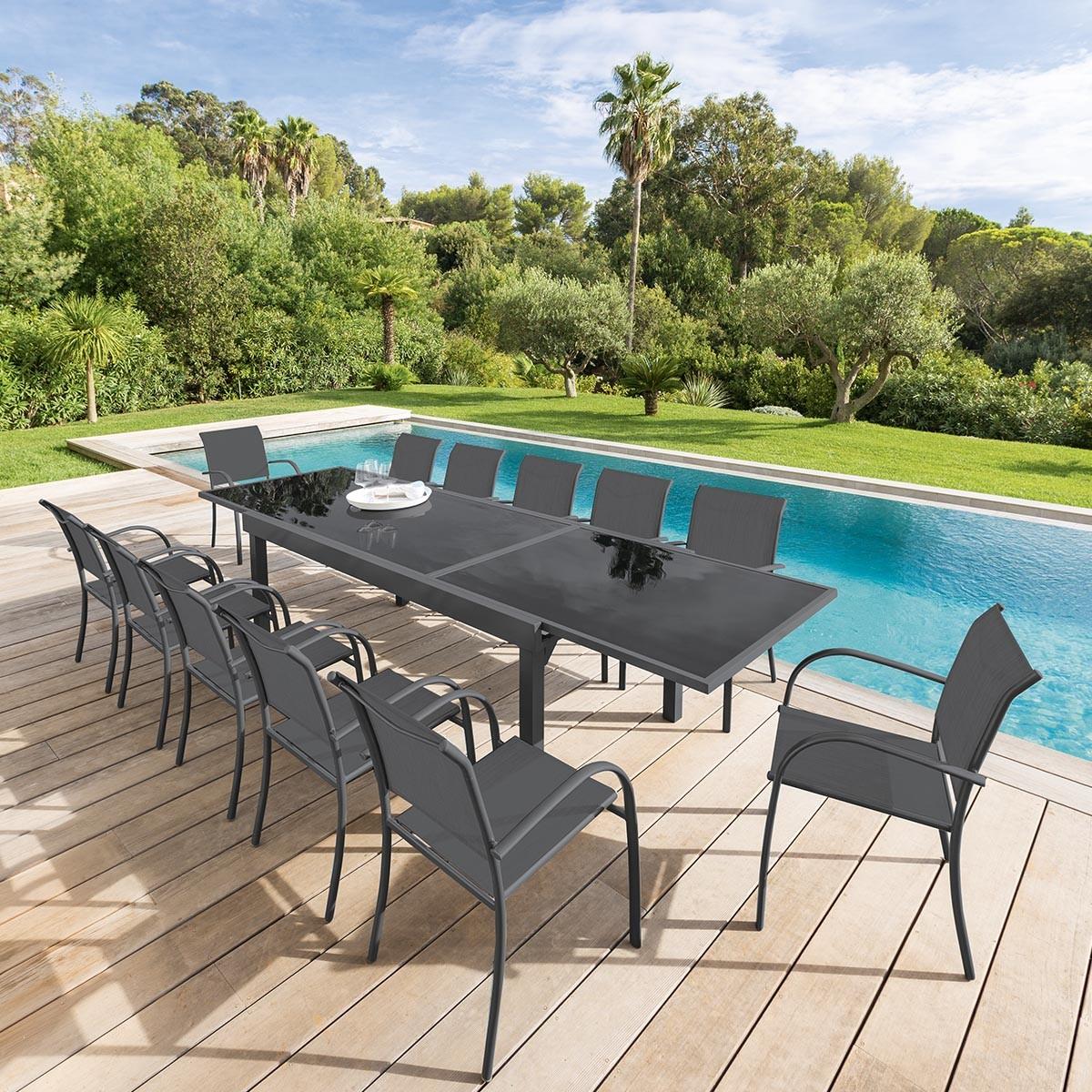 Table de jardin extensible Piazza Anthracite Graphite Hespéride 10 ...
