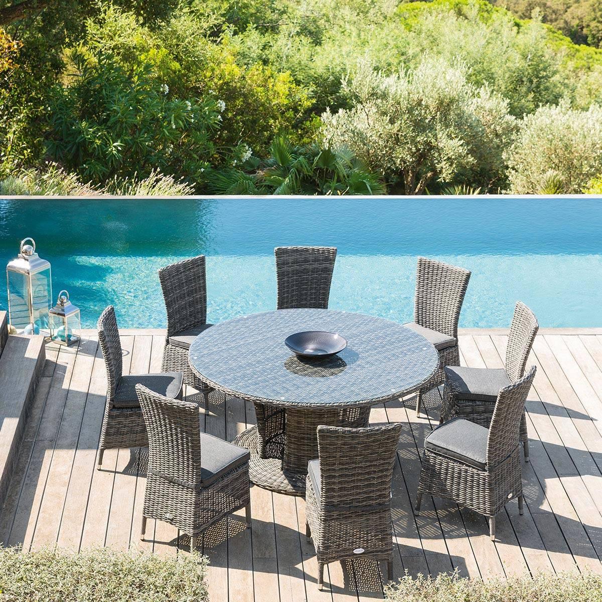 Table de jardin ronde Mooréa Terre d\'ombre Hespéride 8 places