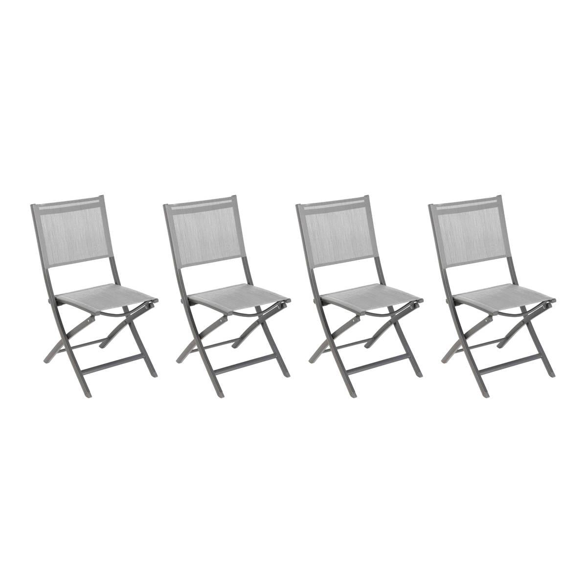 Lot de 4 chaises de jardin pliantes Essentia Galet & Gris , Hesperide.com