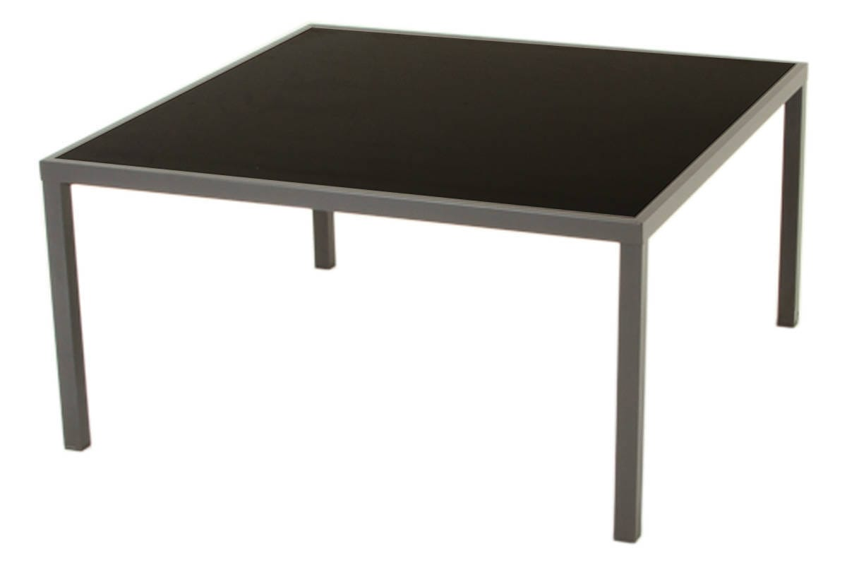 Table carr e piazza verre noire mastic hesp ride 8 places - Table carree verre ...