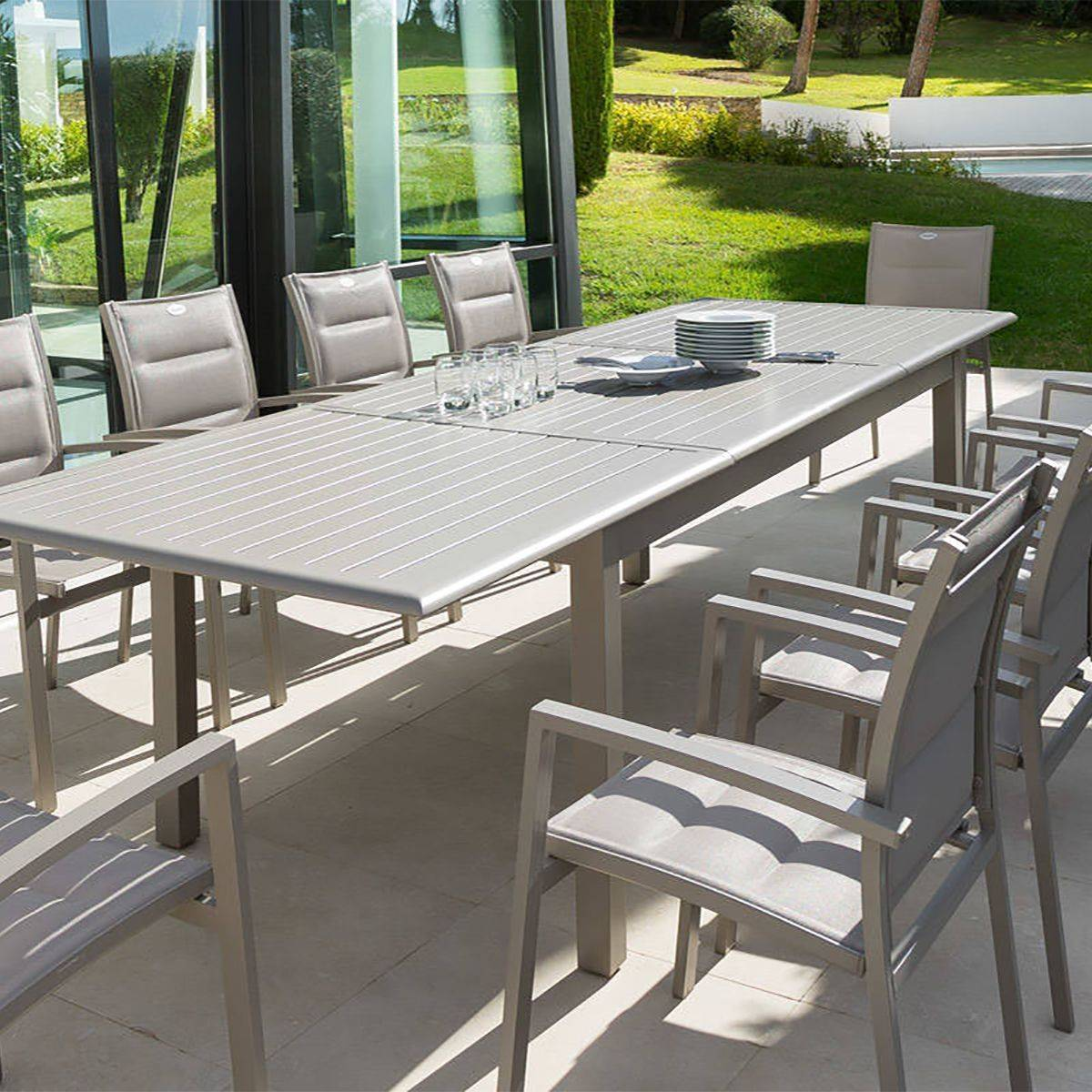 Table de jardin extensible azua taupe hesp ride 12 places - Table de jardin hesperide azua ...
