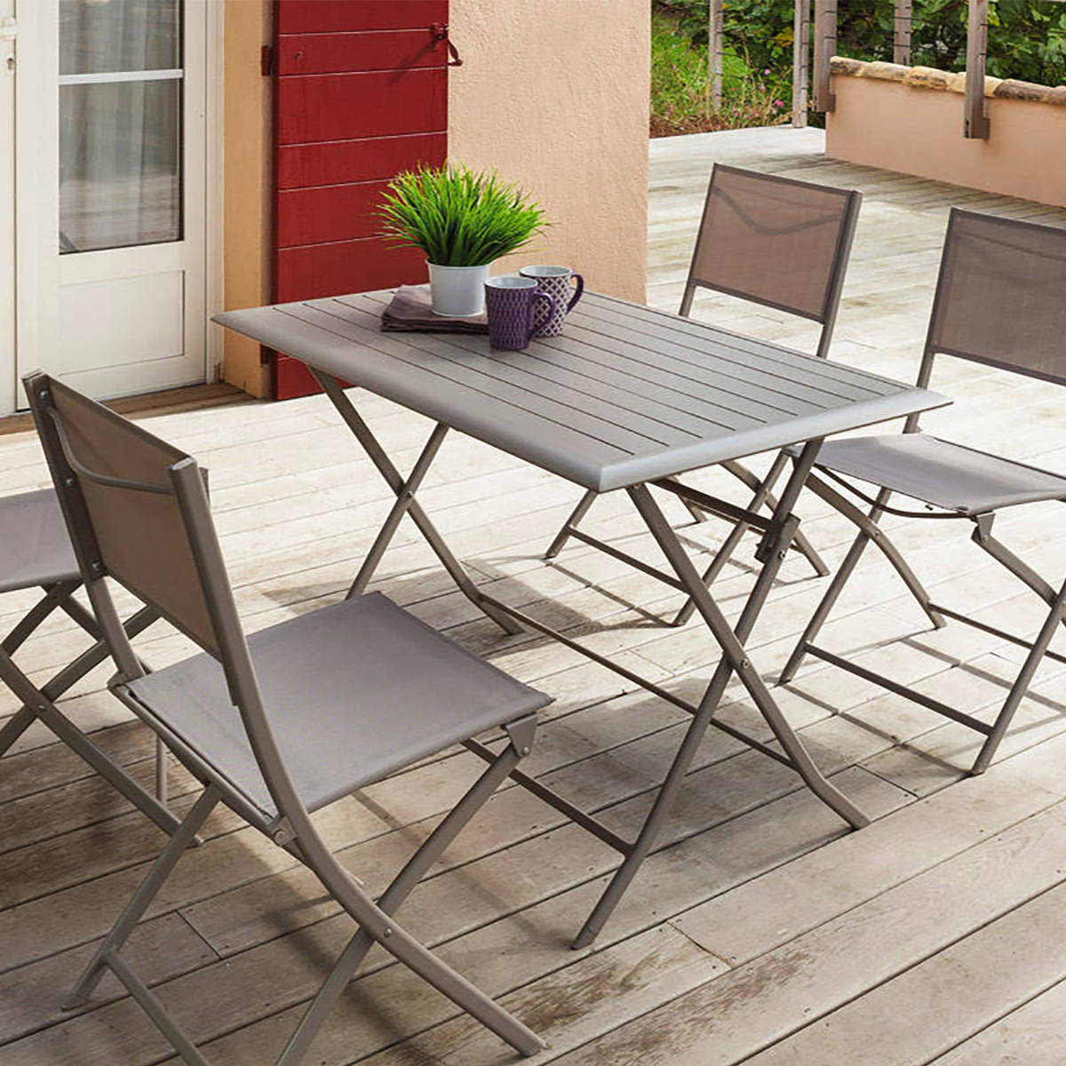 Table de balcon pliante rectangulaire azua taupe hesp ride for Table de jardin terrasse