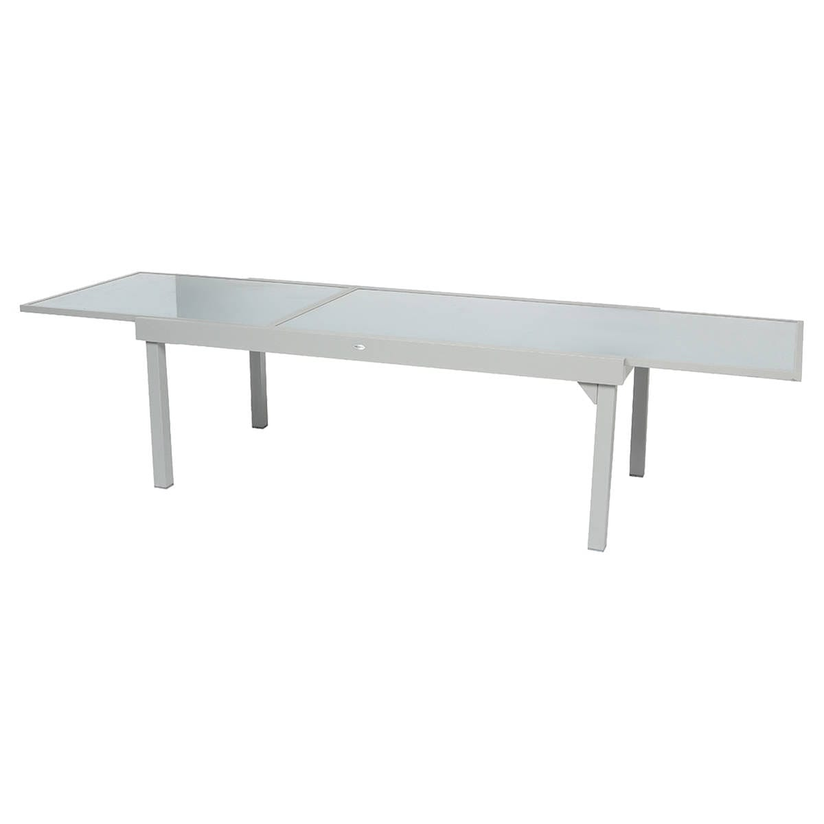 Table de jardin extensible piazza gris silver mat for Table exterieur 12 places