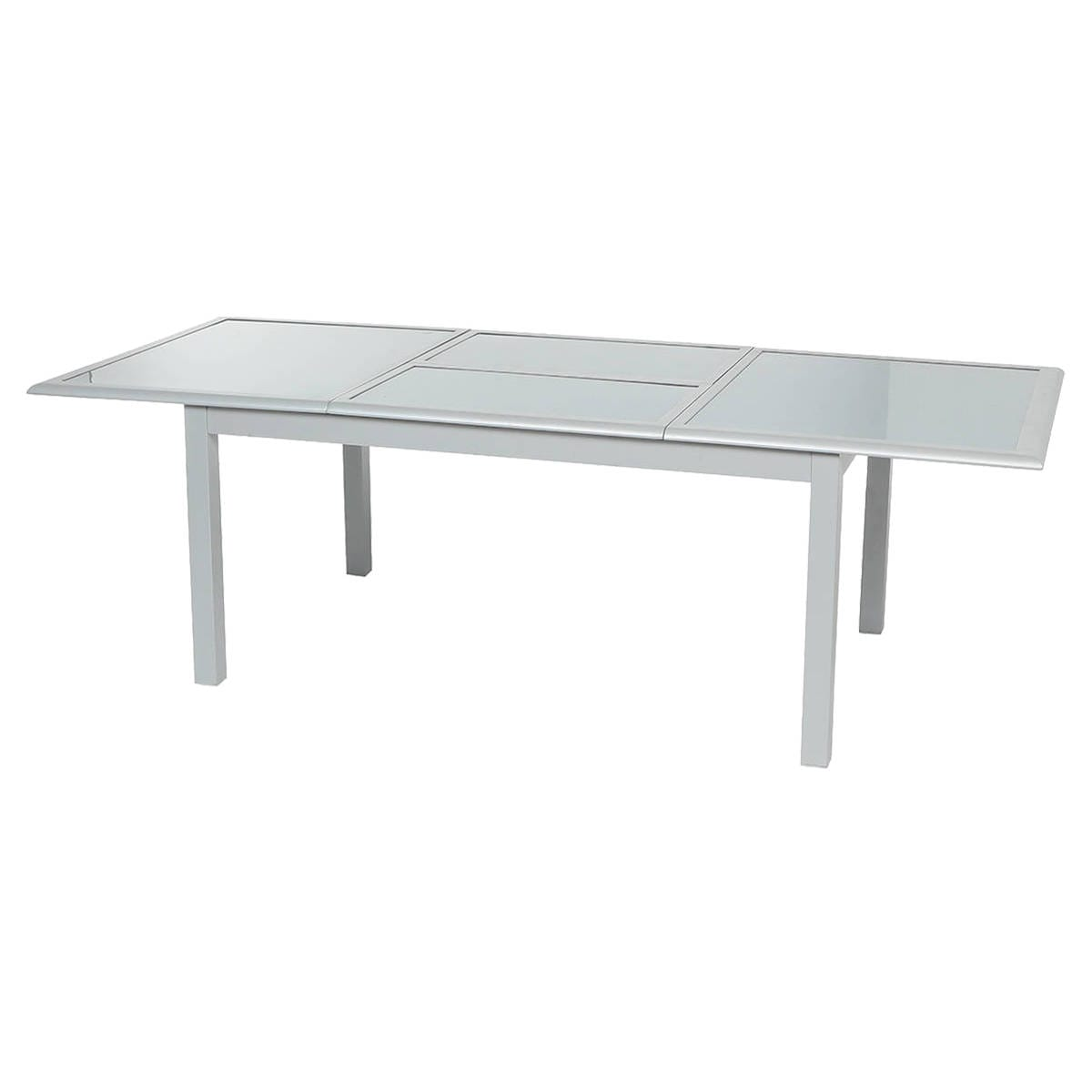 Table extensible azua verre gris silver mat hesp ride 10 places - Table ovale verre extensible ...