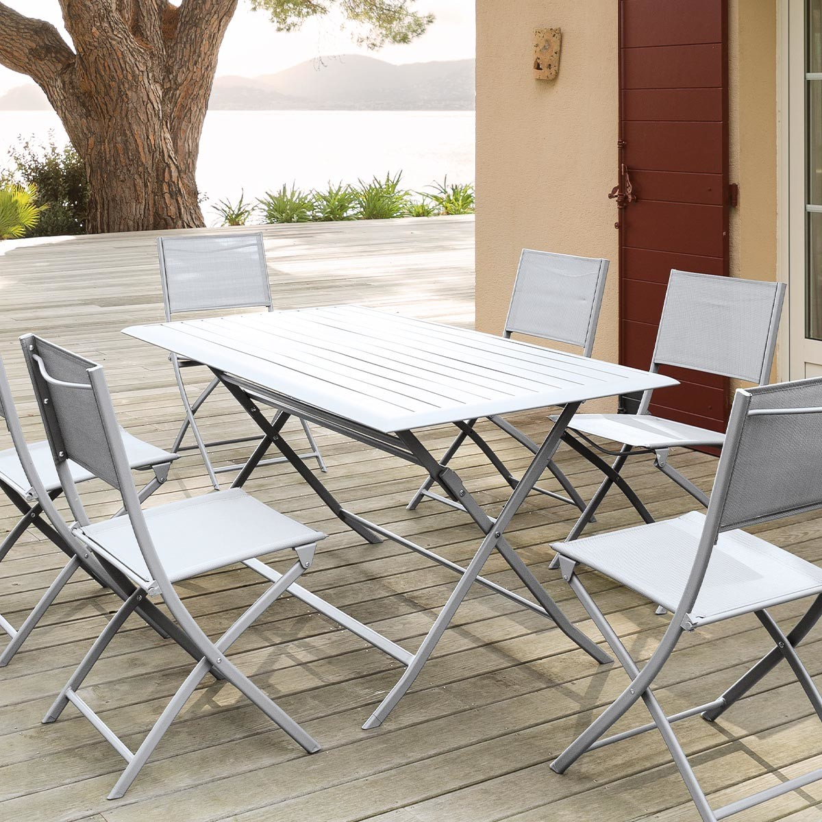 Table de terrasse pliante rectangulaire azua silver mat hesp ride 6 places for Table de terrasse pliante