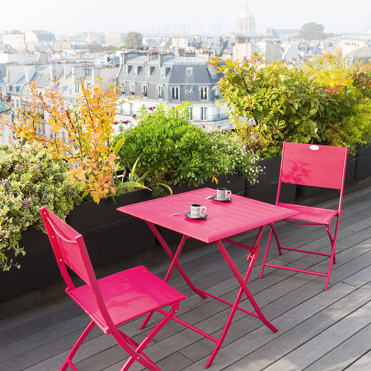 Table de balcon pliante carr e azua cerise hesp ride 2 places - Table de salon pliante ...