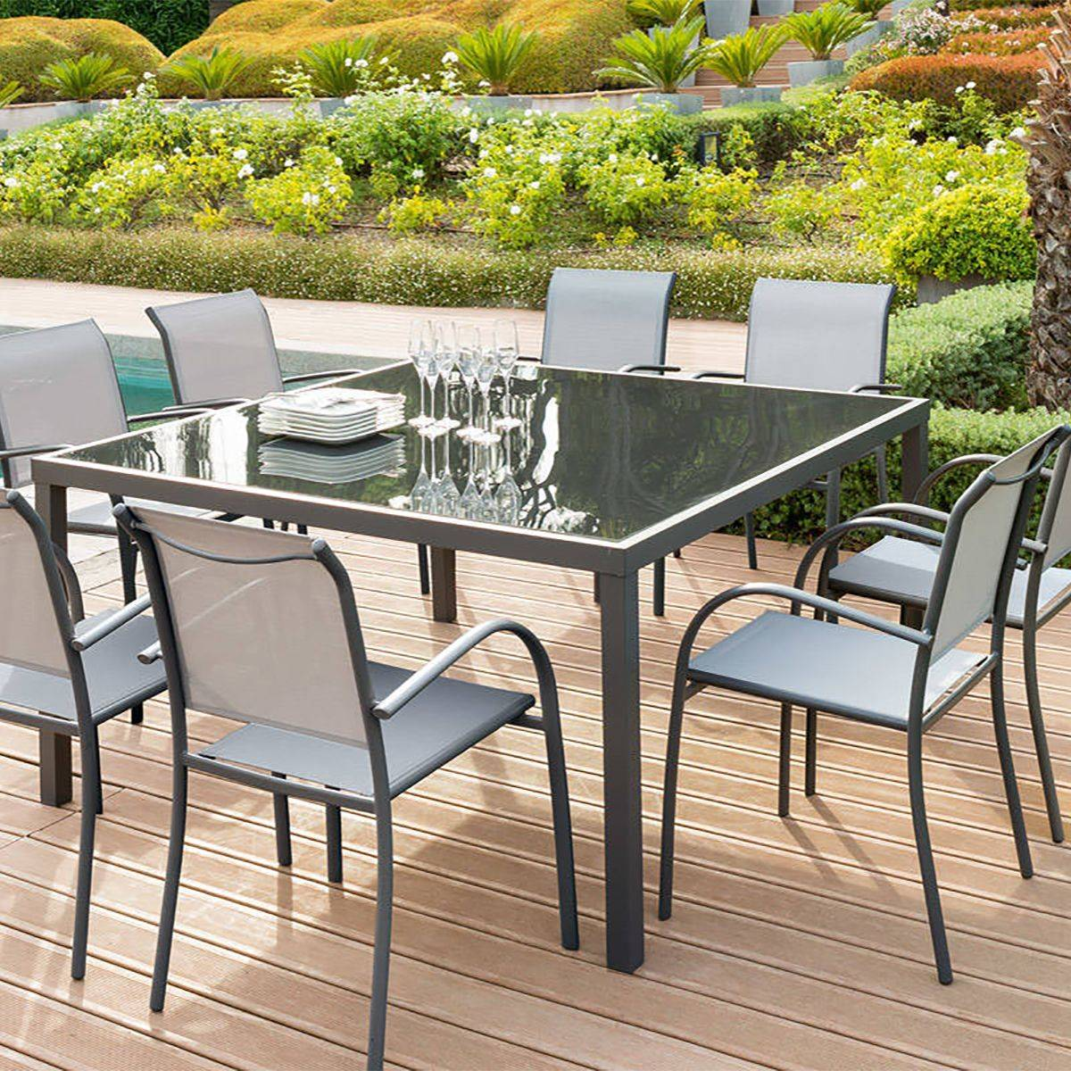 Table de jardin carr e piazza verre anthracite graphite for Table en verre avec chaise