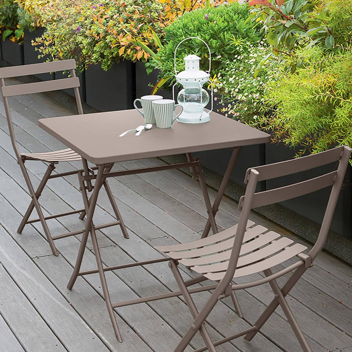 Table de balcon pliante carr e greensboro taupe hesp ride for Table de balcon pliante