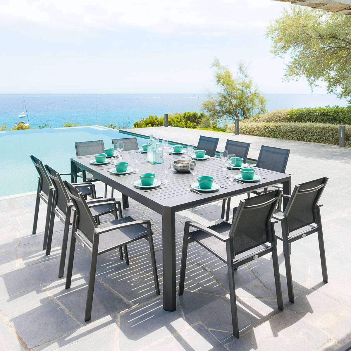 Table de jardin extensible s ville graphite hesp ride 10 places - Table de jardin aluminium ...