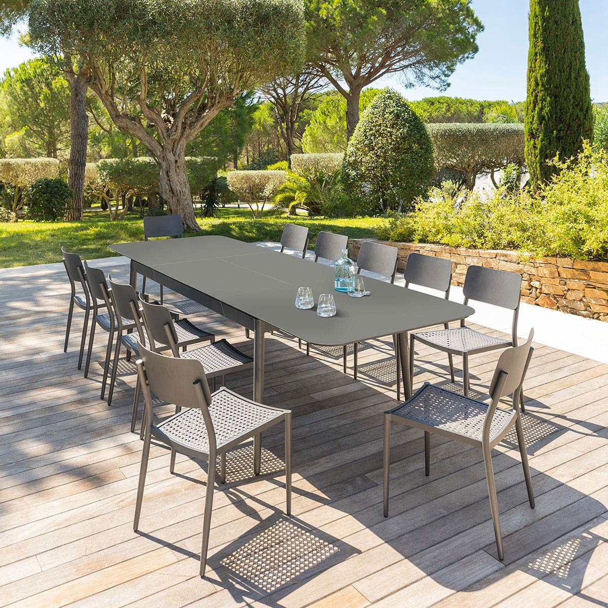 Table de jardin extensible iceland graphite hesp ride 12 places - Salon de jardin alu hesperide ...