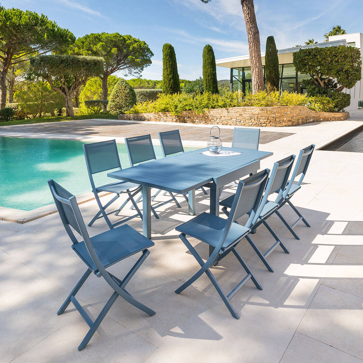 Table de jardin extensible piazza bleu orage hesp ride 8 for Table jardin bleu